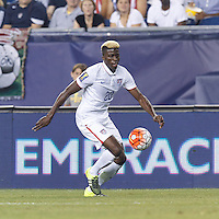 Foxborough, Massachusetts - July 10, 2015: In 2015 CONCACAF Gold Cup Group A match, USA (white) defeated Haiti (blue), 1-0, at Gillette Stadium.