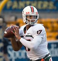 Miami quarterback Stephen Morris. The Miami Hurricanes defeated the Pitt Panthers 41-31 at Heinz Field, Pittsburgh, Pennsylvania on November 29, 2013.