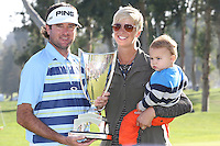 02/16/14 Pacific Palisades, CA: Bubba Watson his son Caleb, and his wife Angie after winning the Northern Trust Open, held at Riviera Country Club