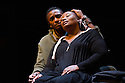 London, UK. 17.05.12. Isango Ensemble present a programme of three productions, at the Hackney Empire: La Boheme, the Ragged Trousered Philanthropists, and Aesop's Fables.Picture shows: Mhlekazi 'Wha Wha' Mosiea and Pauline Malefane, in La Boheme.