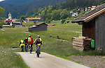 Cycling along country lanes.Imst district, Tyrol/Tirol, Austria, Alps.