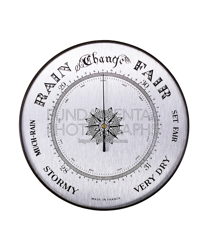 ANEROID BAROMETER DIAL<br /> The dial range is 28 to 31 which is equivalent to the # of inches of Hg supported in a column by atm. pressure. Behind this dial is a metal box nearly evacuated with a fluted lid that is flexible. Variations of pressure on lid push levers &amp; move needle.