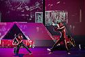 London, UK. 18.10.2013. Boy Blue Entertainment perform THE FIVE AND THE PROPHECY OF PRANA at the Barbican theatre. Dancers are: Michele 'Paleta' Rhyner, Bradley 'Bradz' Charles, Theo 'Godson' Oloyade, Kofi 'Klik' Mingo, Xena Gusthart, Vicky 'Skytilz' Mantey, Duwane Taylor, Kayla Lomas-Kirton, shaun Smith, Hakim Saber and Jumar Aben. Picture shows: Theo 'Godson' Oloyade and Michele 'Paleta' Rhyner. Photograph © Jane Hobson.