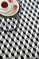 Euclid, a waterjet mosaic shown in honed Chinese Black, honed Allure, and polished Dolomite, is part of the Illusions™ Collection by Sara Baldwin Designs for New Ravenna.
