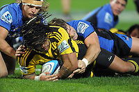 Ma'a Nonu scores for the Hurricanes. Super 15 rugby union match - Hurricanes v Force at FMG Stadium, Palmerston North, New Zealand on Friday, 27 May 2011. Photo: Dave Lintott / lintottphoto.co.nz