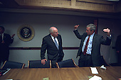 After returning to the White House from Offutt Air Force Base in Bellevue, Nebraska, United States President George W. Bush talks with U.S. Vice President Dick Cheney in the Presidential Emergency Operations Center at the White House in Washington, D.C. on Tuesday, September 11, 2001..Mandatory Credit: Eric Draper - White House via CNP.