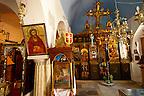 Interior of St Georges  traditional Greek Orthodox church, Mykonos, Cyclades Islands, Greece.