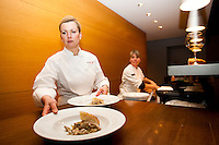 Chef Anna Olsen serves up Mushrooms in Chardonnay thyme cream and potato cheddar focaccia  during a Savour The Sights tour at Jackson Triggs. January 14, 2012. © Allen McEachern.