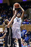 22 November 2015: Duke's Azura Stevens (11) and Army's Dani Failor (35). The Duke University Blue Devils hosted the United States Military Academy at West Point Army Black Knights at Cameron Indoor Stadium in Durham, North Carolina in a 2015-16 NCAA Women's Basketball Exhibition game. Duke won the game 72-61.