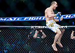 Junior Dos Santos reacts to winning his World Heavyweight Championship match against Cain Velasquez during Saturday's UFC on Fox.