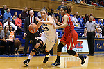 17 December 2015: Duke's Rebecca Greenwell (23) and Liberty's Mikal Johnson (right). The Duke University Blue Devils hosted the Liberty University Flames at Cameron Indoor Stadium in Durham, North Carolina in a 2015-16 NCAA Division I Women's Basketball game. Duke won the game 79-41.