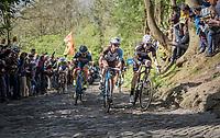 early breakaway group up the infamous Muur van Geraardsbergen (1100m/7.6%) that is back in the parcours after a 5 year hiatus<br /> <br /> 101th Ronde Van Vlaanderen 2017 (1.UWT)<br /> 1day race: Antwerp &rsaquo; Oudenaarde - BEL (260km)