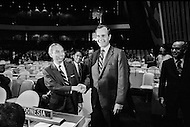 21 Sep 1971 --- George Herbert Walker Bush (R), named by President Richard Nixon as the American U.N. Ambassador, with Adam Malik, the Indonesian Foreign Affairs Minister and President of the 26th U.N. Assembly voting on China's admission. --- Image by © JP Laffont