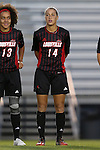 04 October 2014: Louisville's Chinyelu Asher. The Duke University Blue Devils hosted the University of Louisville Cardinals at Koskinen Stadium in Durham, North Carolina in a 2014 NCAA Division I Women's Soccer match. The game ended in a 0-0 tie after double overtime.