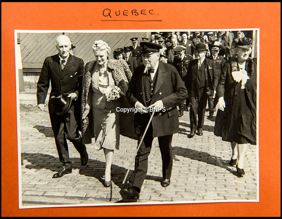 BNPS.co.uk (01202 558833)<br /> Pic: C&amp;T/BNPS<br /> <br /> Churchill with his wife Clemmie at the Quebec Conference in Sept 1944.<br /> <br /> A humble secretary's remarkable first hand archive of some of the most momentous events of WW2 has come to light.<br /> <br /> 'Miss Brenda Hart' worked in the Cabinet Office during the last two years of the war, travelling across the globe with the Allied leaders as the conflict drew to a close.<br /> <br /> Her unique collection of photographs and momentoes of Churchill, Stalin and other prominent Second World War figures have been unearthed after more than 70 years.<br /> <br /> The scrapbooks, which also feature Lord Mountbatten and Vyacheslav Molotov, were collated by Brenda Hart who, in her role as secretary to Churchill's chief of staff General Hastings Ismay, enjoyed incredible access to him and other world leaders.<br /> <br /> She also wrote a series of letters which give fascinating insights, including watching Churchill and Stalin shaking hands at the Bolshoi ballet in 1944, being behind Churchill as he walked out on to the balcony at the Ministry of Health to to wave to some 50,000 Londoners on VE day and even visiting Hitler's bombed out Reich Chancellery at the end of the war.<br /> <br /> This unique first hand account, captured in a collection of photos, passes, documents and letters are being sold at C&amp;T auctioneers on15th March with a &pound;1200 estimate.