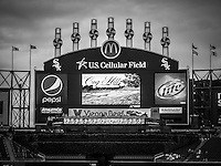 Comiskey Park U.S. Cellular Field Scoreboard in Chicago. U.S. Cellular Field (Comiskey Park) is an American ballpark and home to the Chicago White Sox Major League Baseball team. The park opened in 1991 and replaced the Original Comiskey Park that opened in 1910.