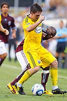 21 AUGUST 2010:  Danny O'Rourke of the Columbus Crew (5) and Colorado Rapids forward Omar Cummings (14) during MLS soccer game between Colorado Rapids vs Columbus Crew at Crew Stadium in Columbus, Ohio on August 21, 2010.