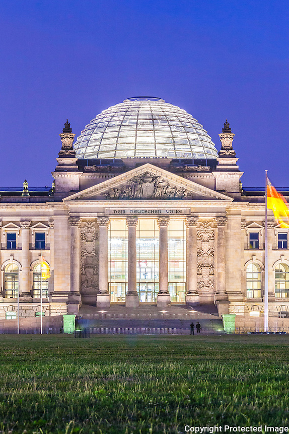 reichstag building west facade and dome at dusk berlin germany july 2013 architect 1894. Black Bedroom Furniture Sets. Home Design Ideas
