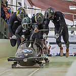 9 January 2016: United Kingdom pilot Lamin Deen leads his 4-man team as they push off their first run of the day at the BMW IBSF World Cup Bobsled Championships at the Olympic Sports Track in Lake Placid, New York, USA. Deen's team came in 4th for the day, with a 2-run combined time of 1:50.11. Mandatory Credit: Ed Wolfstein Photo *** RAW (NEF) Image File Available ***