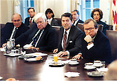United States President Ronald Reagan meets with Congressional Leadership in the Cabinet Room of the White House in Washington, D.C. on Tuesday, October 25, 1983 to discuss the invasion of Grenada.  From left to right: U.S. House Minority Leader Robert Michel (Republican of Illinois); Speaker of the U.S. House Thomas P. &quot;Tip&quot; O'Neill (Democrat of Massachusetts); President Reagan; and U.S. Senate Majority Leader Howard Baker (Republican of Tennessee)..Mandatory Credit: Michael Evans - White House via CNP