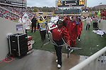 Ole Miss band members leave the field during a weather delay due to lightning vs. Arkansas at Reynolds Razorback Stadium in Fayetteville, Ark. on Saturday, October 23, 2010. There were two delays for weather. Arkansas won 38-24.