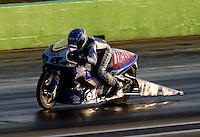 Sep 19, 2014; Ennis, TX, USA; NHRA pro stock motorcycle rider Hector Arana Jr during qualifying for the Fall Nationals at the Texas Motorplex. Mandatory Credit: Mark J. Rebilas-USA TODAY Sports