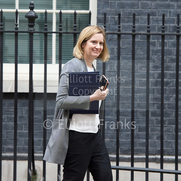 Cabinet Meeting <br /> 10 Downing Street London, Great Britain <br /> 29th March 2017 <br /> <br /> departures following the final cabinet meeting before Article 50 is triggered in Parliament today.<br /> <br /> Amber Hunt MP<br /> Home Secretary <br /> <br /> <br /> Photograph by Elliott Franks <br /> Image licensed to Elliott Franks Photography Services