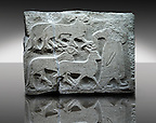 Picture & image of a Neo-Hittite orthostat showing Sacrificial animals being led from Alacahöyük, Alaca Çorum Province, Turkey. Ancora Archaeological Museum. Old Bronze age Chalcolithic Period. 3