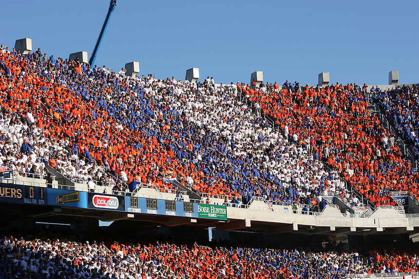 BOISE, ID - SEPTEMBER 25: Fans of the Boise State Broncos in color coordinated sections against the Oregon State Beavers at Bronco Stadium on September 25, 2010 in Boise, Idaho. (Photo by Tom Hauck) Player:(Photo by Tom Hauck/Getty Images) *** Local Caption ***