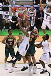 MILWAUKEE, WI - MARCH 16:  Vermont Catamounts forward Anthony Lamb (3) and Vermont Catamounts forward Darren Payen (12) reach up for the ball during the second half of the 2017 NCAA Men's Basketball Tournament held at BMO Harris Bradley Center on March 16, 2017 in Milwaukee, Wisconsin. (Photo by Jamie Schwaberow/NCAA Photos via Getty Images)