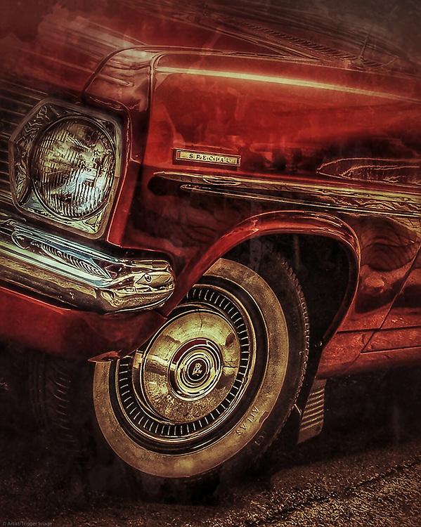 Classic American car in red