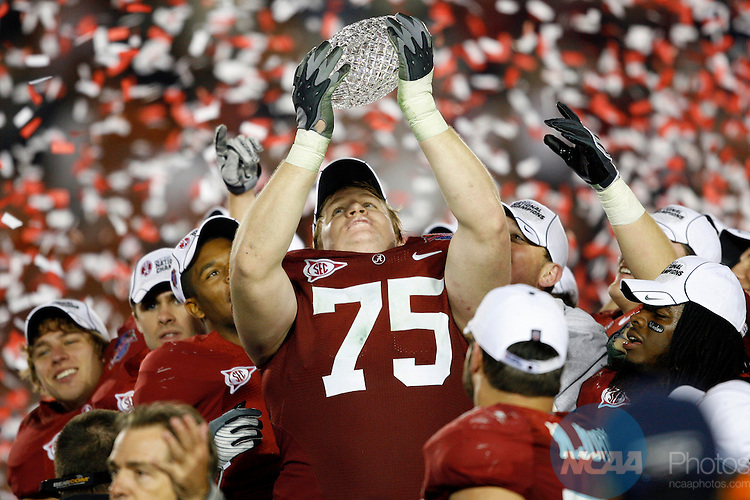 07 JAN 2010:  Barrett Jones (75) of the University of Alabama celebrates the Crimson Tides' victory over the University of Texas during the BCS National Championship held at the Rose Bowl in Pasadena, CA.  Alabama defeated Texas 37-21 for the national title. Jamie Schwaberow/NCAA Photos