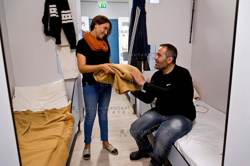 "ROME, ITALY - SEPTEMBER 23: A guest of the hostel  ""Don Luigi Di Liegro"" of the Caritas of Rome in Via Marsala, Rome. The new facility of 500 for the evening canteen and 300 beds to the hostel,  hosts marginalized people. The hostel opened in 1987 has been renovated to make it more efficient, the social reintegration of the guests  on September 23, 2016 in Rome, Italy."
