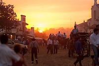 The village of El Rocio in the evening, live around 2,000 people, reaching over a million in season in May Pilgrimage.