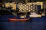 Fishing boat leaving the harbour of San Juan,Tenerife, Canary Islands, Spain