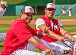 22 May 2015: Washington Nationals infielders Yunel Escobar (right) and Wilmer Difo take stretching exercises prior to a game against the Philadelphia Phillies at Nationals Park in Washington, DC. The Nationals defeated the Phillies 2-1 in the first game of their 3-game weekend series. Mandatory Credit: Ed Wolfstein Photo *** RAW (NEF) Image File Available ***