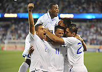 Rony Martinez (11) of Honduras celebrates with teammates his score.  Honduras defeated Haiti 2-0 in the first round of the CONCACAF Gold Cup, at Red Bull Arena, Monday July 8 , 2013.