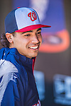 21 April 2013: Washington Nationals third baseman Anthony Rendon smiles in the dugout prior to a game against the New York Mets at Citi Field in Flushing, NY. Rendon was called up to replace Ryan Zimmerman, who was placed on the 15-day DL. Rendon makes his Major League debut with his start at third. The Mets shut out the visiting Nationals 2-0, taking the rubber match of their 3-game weekend series. Mandatory Credit: Ed Wolfstein Photo *** RAW (NEF) Image File Available ***