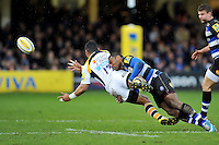 Semesa Rokoduguni of Bath Rugby tackles Siale Piutau of Wasps. Aviva Premiership match, between Bath Rugby and Wasps on February 20, 2016 at the Recreation Ground in Bath, England. Photo by: Patrick Khachfe / Onside Images
