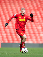 LIVERPOOL, ENGLAND - Easter Monday, April 1, 2013: Liverpool's Ryan McLaughlin in action against Tottenham Hotspur during the Under 21 FA Premier League match at Anfield. (Pic by David Rawcliffe/Propaganda)