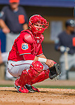 5 March 2016: Washington Nationals catcher Spencer Kieboom in action during a Spring Training pre-season game against the Detroit Tigers at Space Coast Stadium in Viera, Florida. The Nationals defeated the Tigers 8-4 in Grapefruit League play. Mandatory Credit: Ed Wolfstein Photo *** RAW (NEF) Image File Available ***