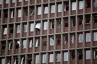 Oslo Norway 20110722 -  Terror attack on the government quarters in Oslo and AUF youth camp at Utoya / Ut&oslash;ya.  Pictured: the government building, housing among others the prime minister&acute;s office (Regjeringsblokka). Photo/copyright: Torbjorn Gronning.