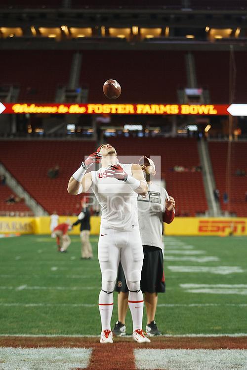 Santa Clara- December 30, 2014: Devon Cajuste during warm up before the Stanford vs Maryland Foster Farms Bowl at Levi's Stadium in Santa Clara Tuesday night.<br /> <br /> Stanford won 45-21.