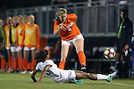 15 October 2016: Virginia's Taylor Ziemer (9) has her pass knocked out of bounds by Duke's Imani Dorsey (3). The Duke University Blue Devils hosted the University of Virginia Cavaliers at Koskinen Stadium in Durham, North Carolina in a 2016 NCAA Division I Women's Soccer match. Duke won the game 1-0.
