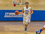 22 November 2015: Yeshiva University Maccabee Guard Judah Cohen, a Freshman from Englewood, NJ, leads a rush upcourt during the first half of play against the Hunter College Hawks at the Max Stern Athletic Center  in New York, NY. The Maccabees defeated the Hawks 81-71 in non-conference play, for their second win of the season. Mandatory Credit: Ed Wolfstein Photo *** RAW (NEF) Image File Available ***