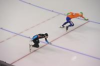 SCHAATSEN: CALGARY: Olympic Oval, 10-11-2013, Essent ISU World Cup, 500m, Tucker Fredricks (USA), Ronald Mulder (NED), ©foto Martin de Jong