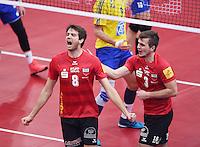 Volleyball 1. Bundesliga Saison 2016/2017  28.12.2016 TV Rottenburg - VfB Friedrichshafen JUBEL TV Rottenburg; Felix Isaak (li) und Philipp Jankowski