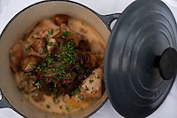 Braised rabbit served in a dutch oven at an Oxford restaurant.