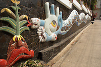 Feathered serpent mural by Diego Rivera on the front wall of the Casa de Delores Olmedo in Acapulco, Mexico. Diego Rivera created this mural during the last two years of his life 1956 and 1957.