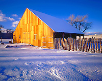 Barn and Spring Snow in Dawn Light at Cove Fort, Built from Trestle Wood from Great Salt Lake, Millard County, Utah